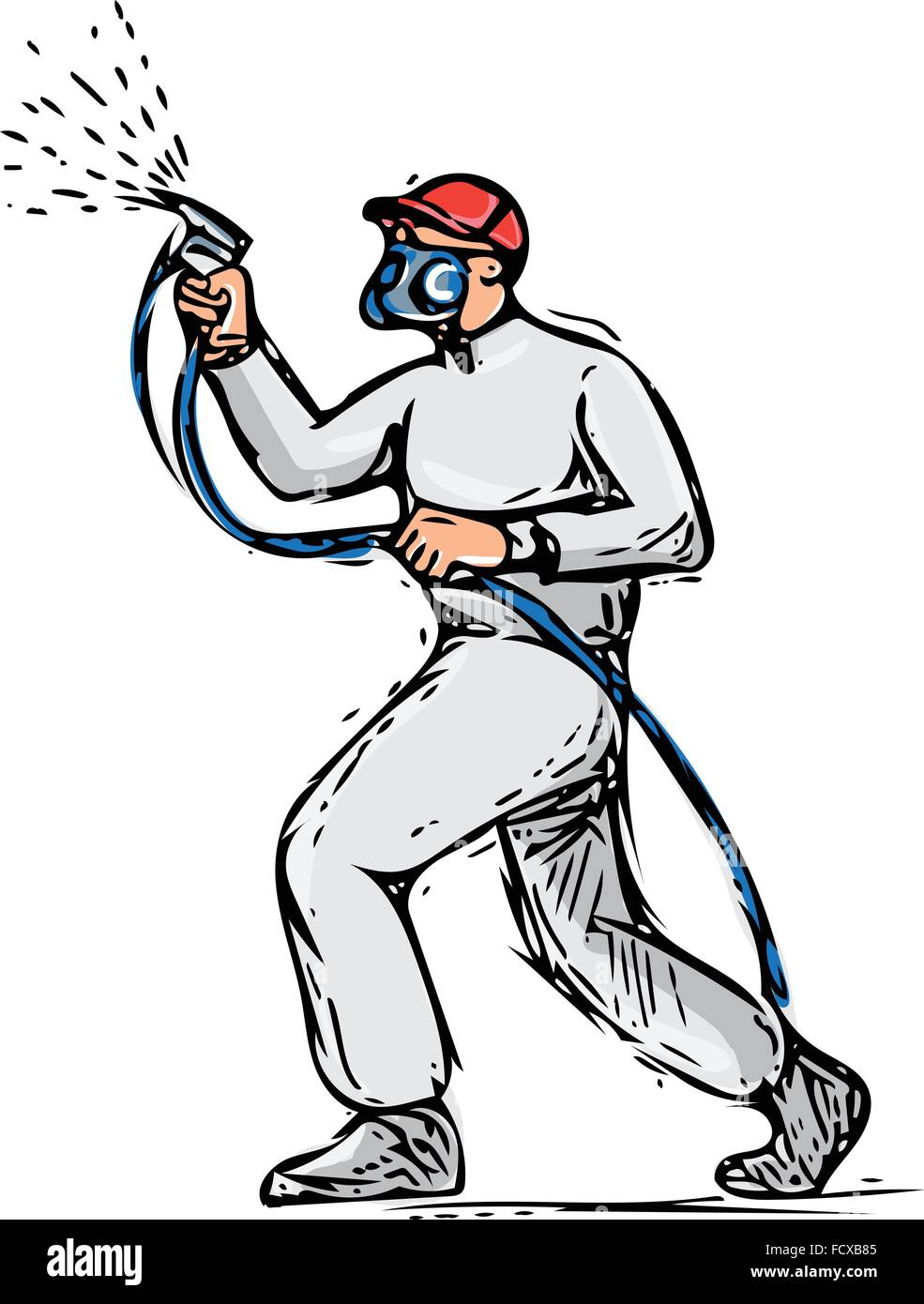 Drawing sketch style illustration of spray painter holding ...