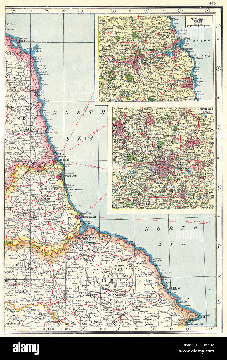 NORTH EAST ENGLAND COAST  Durham Yorks Northumbs Newcastle upon Tyne     NORTH EAST ENGLAND COAST  Durham Yorks Northumbs Newcastle upon Tyne  1920  map