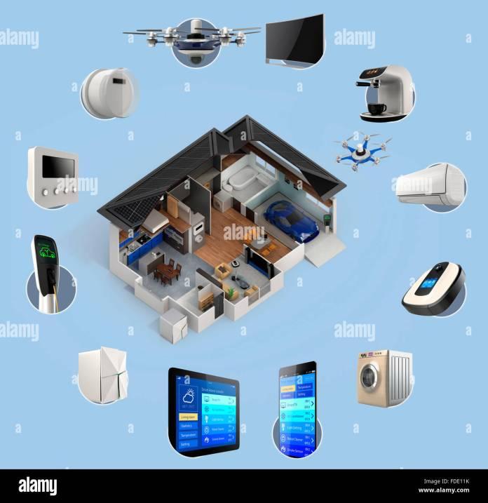 3d Infographics Of Smart Home Automation Technology Smart Appliances Stock Photo Alamy