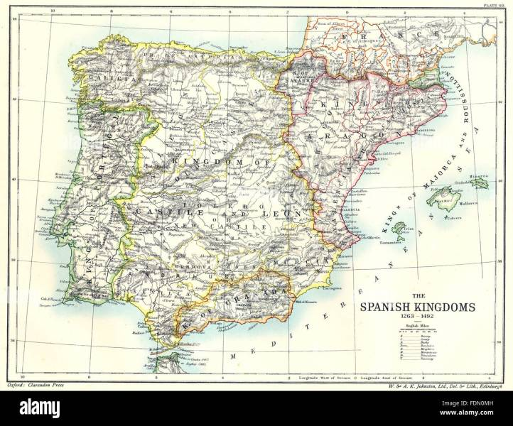 1492 Map Stock Photos   1492 Map Stock Images   Alamy SPAIN  The Spanish Kingdoms 1263  1492  1903 antique map   Stock Image