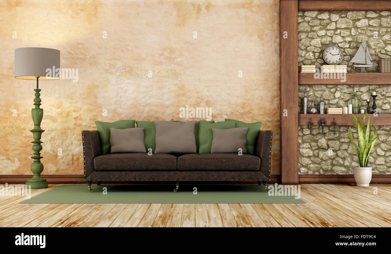 Retro Living Room With Classic Sofa Stone Wall And Wooden