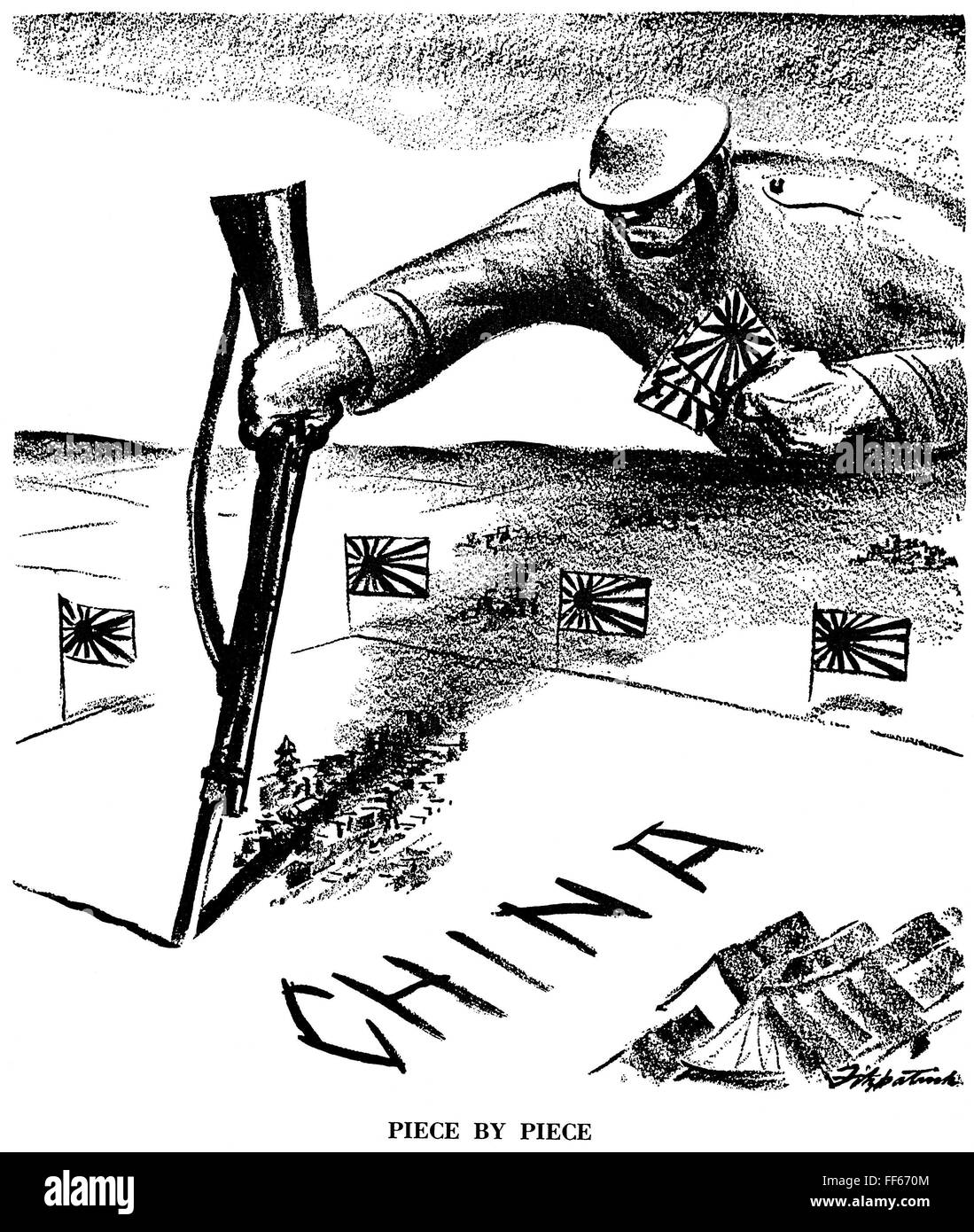 Japan Imperialism N Piece By Piece American Cartoon By Stock Photo