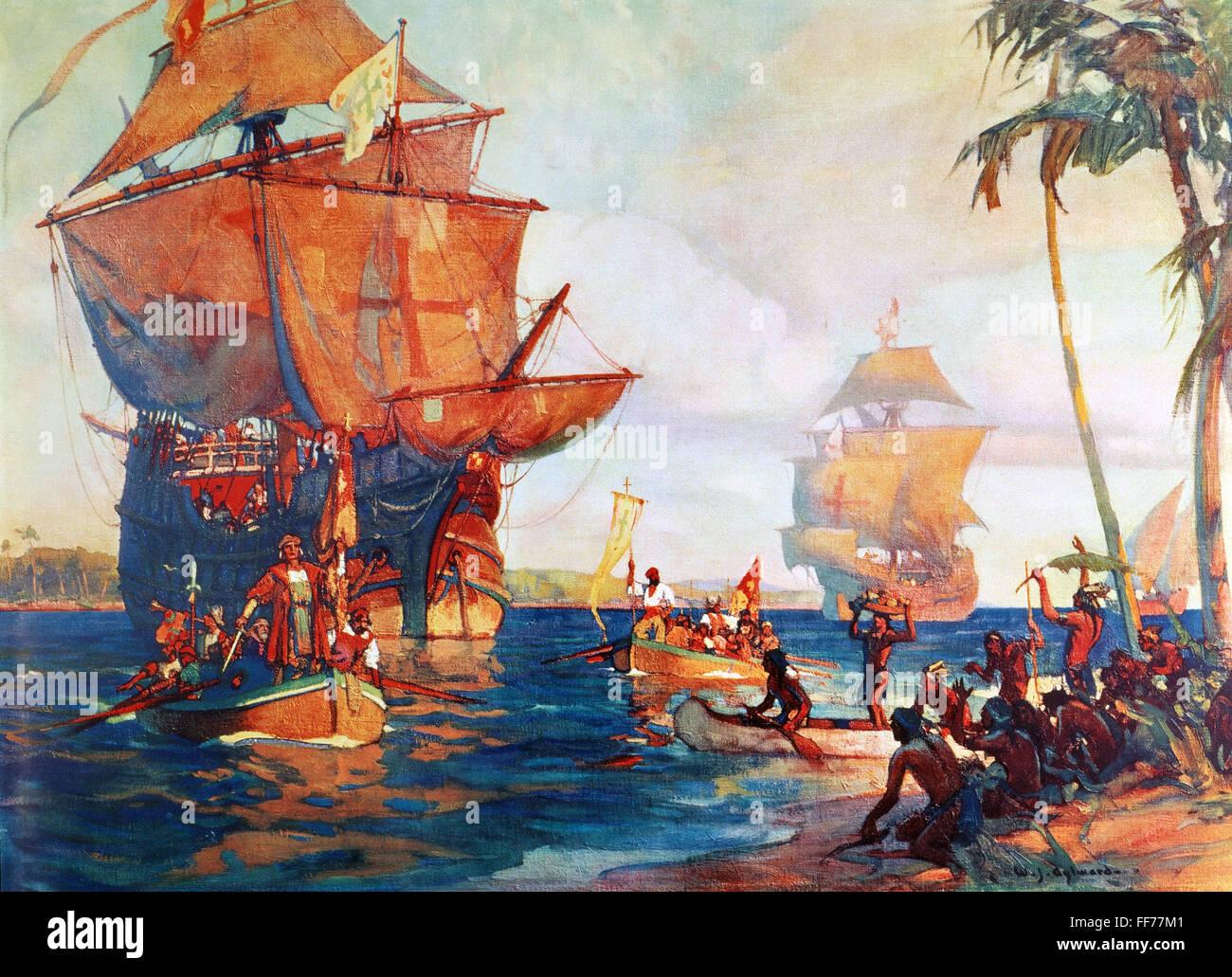 Columbus New World Nthe Landing Of Columbus In