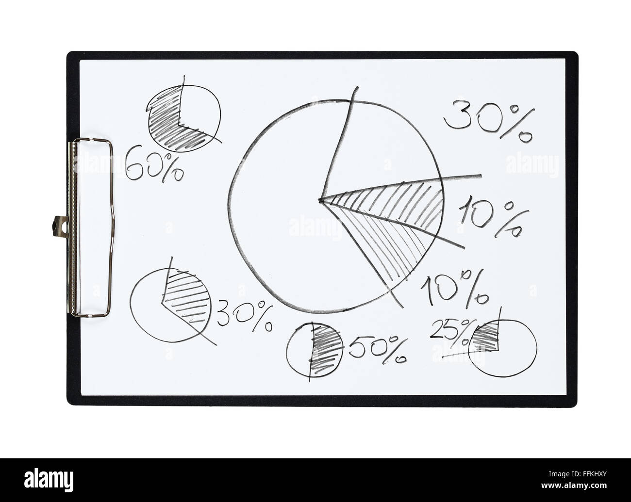 Clipboard And Paper Sheet With Pencil Drawing Pie Chart