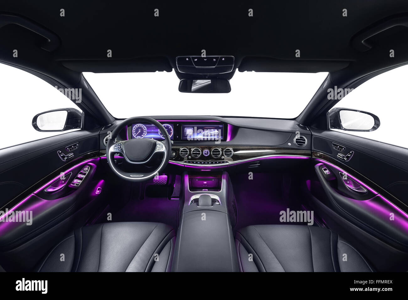 Car interior luxury black seats with violet ambient light Stock     Car interior luxury black seats with violet ambient light  Comfortable  modern salon  Cleaning and detailing car service