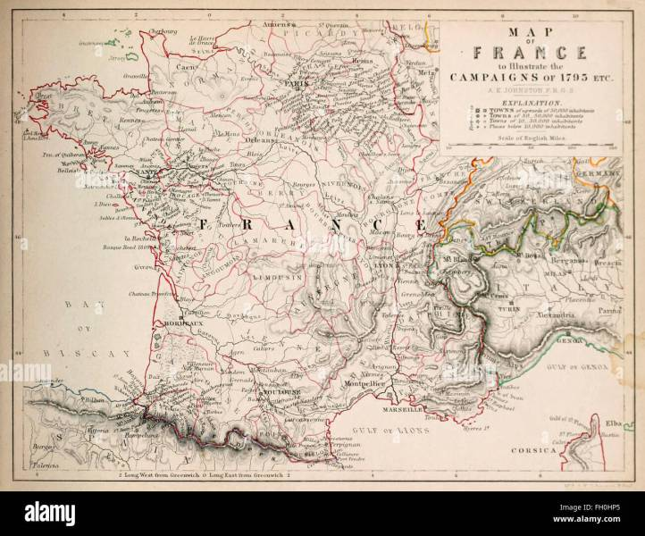 Map of France to illustrate the Campaigns of 1795 Stock Photo     Map of France to illustrate the Campaigns of 1795