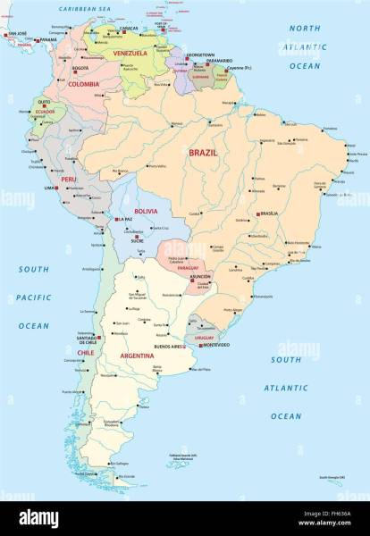 Map Of South America Stock Photos   Map Of South America Stock     political map of south america   Stock Image