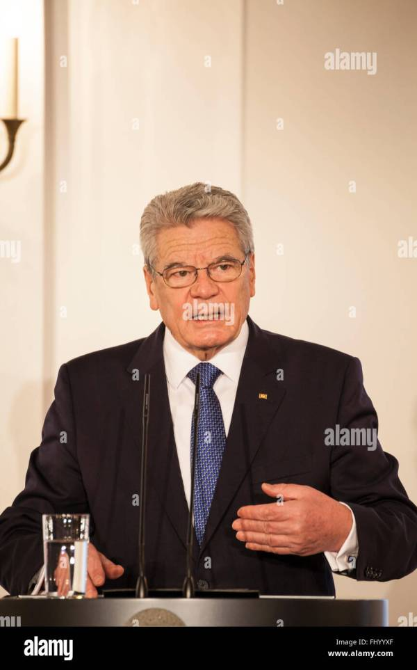 German federal president Joachim Gauck in castle Bellevue ...