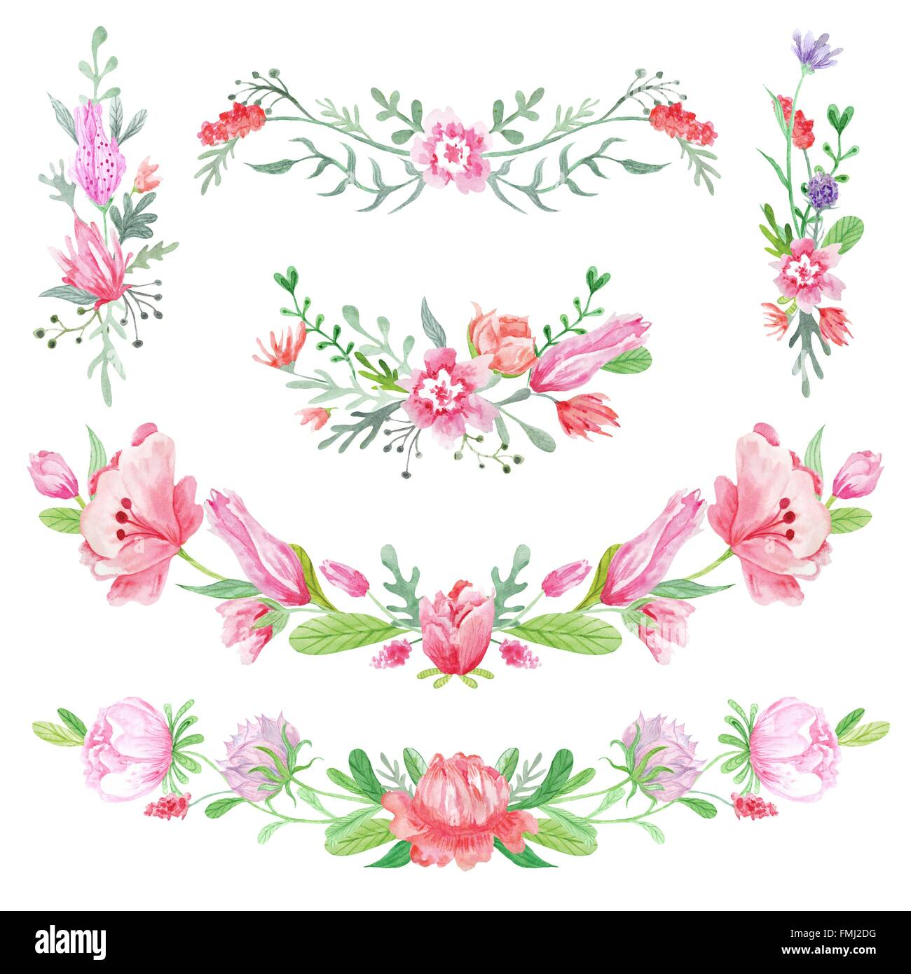 Creative Spring Watercolor Color Wreath Borders On White