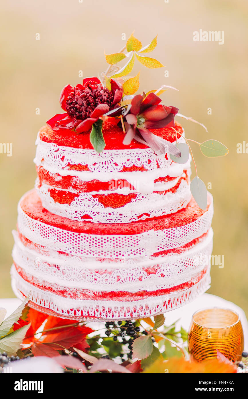 Big red and white wedding cake close up Stock Photo  99053454   Alamy Big red and white wedding cake close up