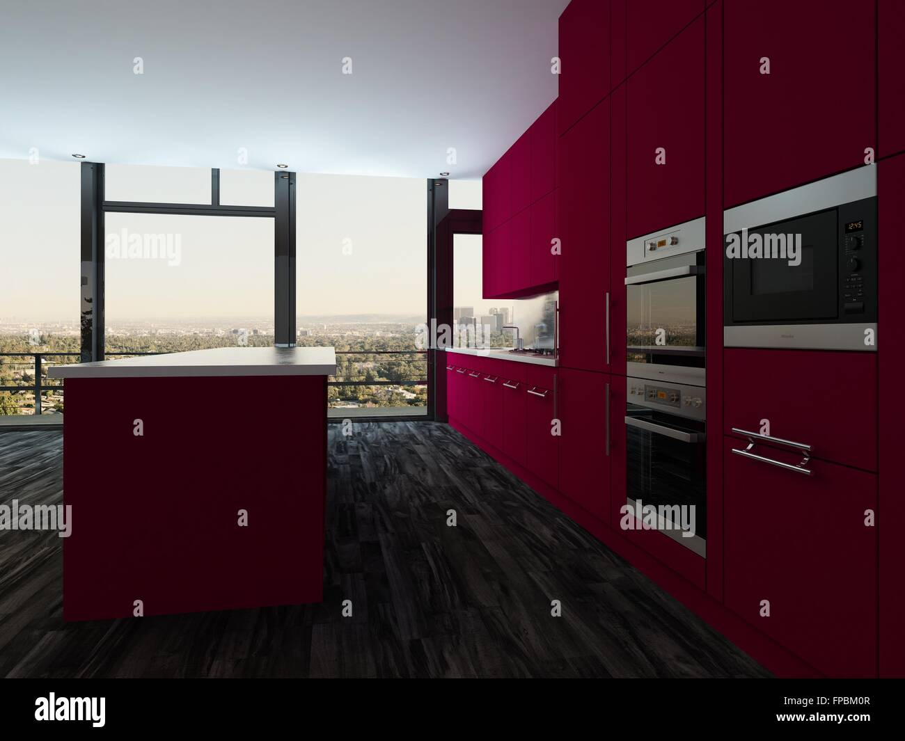 Colorful modern open plan kitchen and dining room with bright     Colorful modern open plan kitchen and dining room with bright magenta  cabinets and a stylish modern dining suite in front of panoramic view  windows