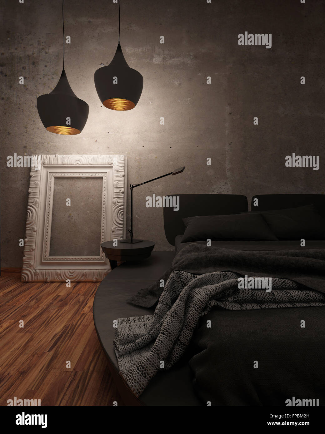 Black Leather Bed With Padded Headboard And Throw Rug