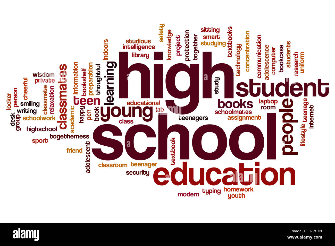 High School Concept Word Cloud Background Stock Photo