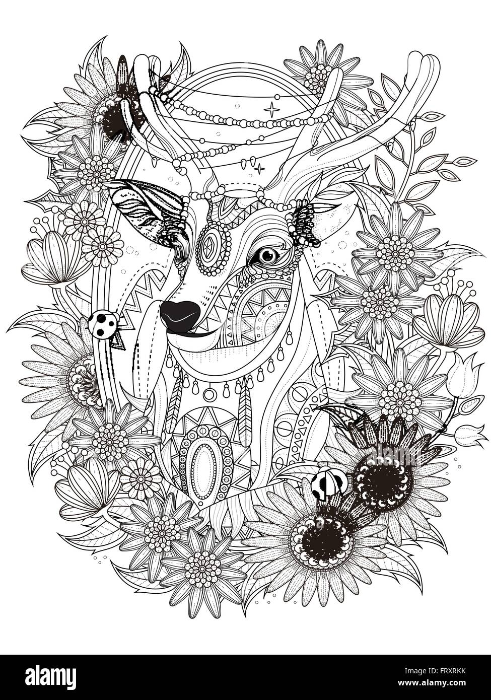 Gorgeous Deer With Floral Wreath Adult Coloring Page Stock