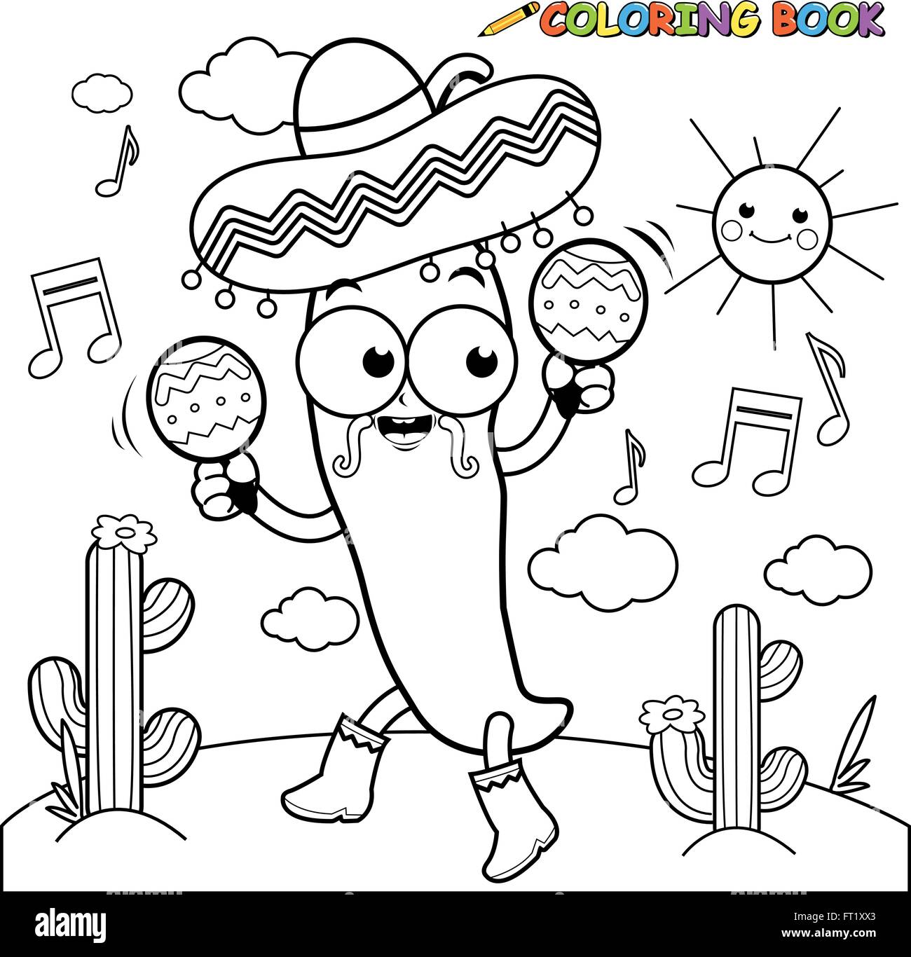 Mariachi Chili Pepper With Maracas Coloring Page Stock
