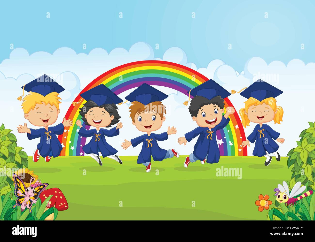Happy Little Kids Celebrate Their Graduation With Nature