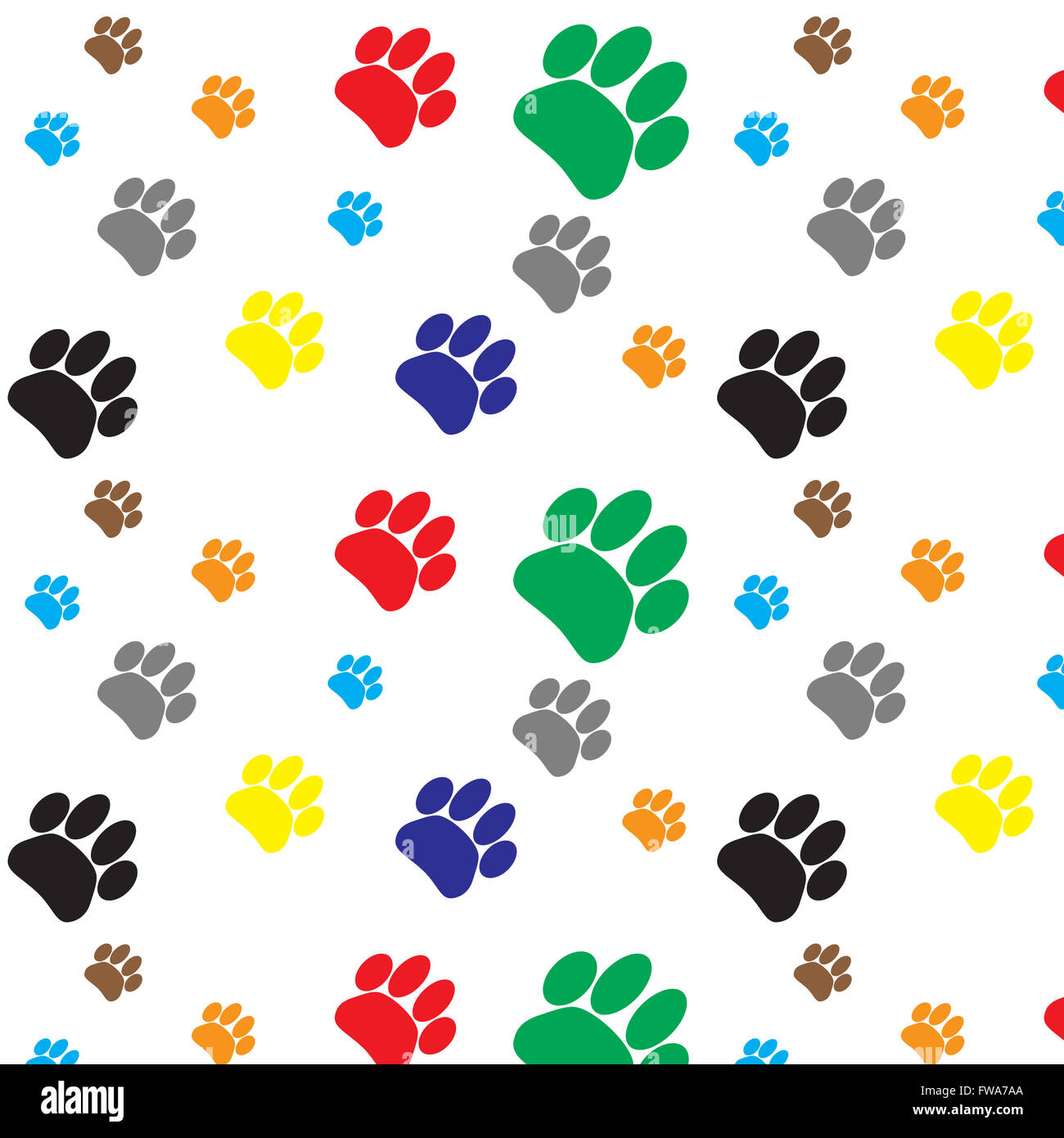 Pattern Color Dog Animal Foot Print Print Paw And
