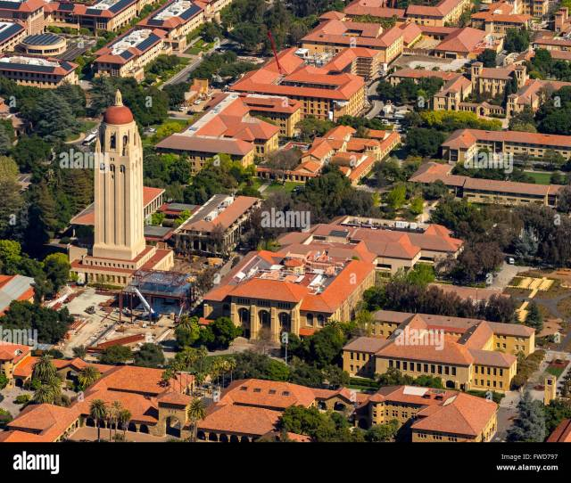 Stanford University Campus Palo Alto California Hoover Tower Campus Silicon Valley California Usa Aerial View