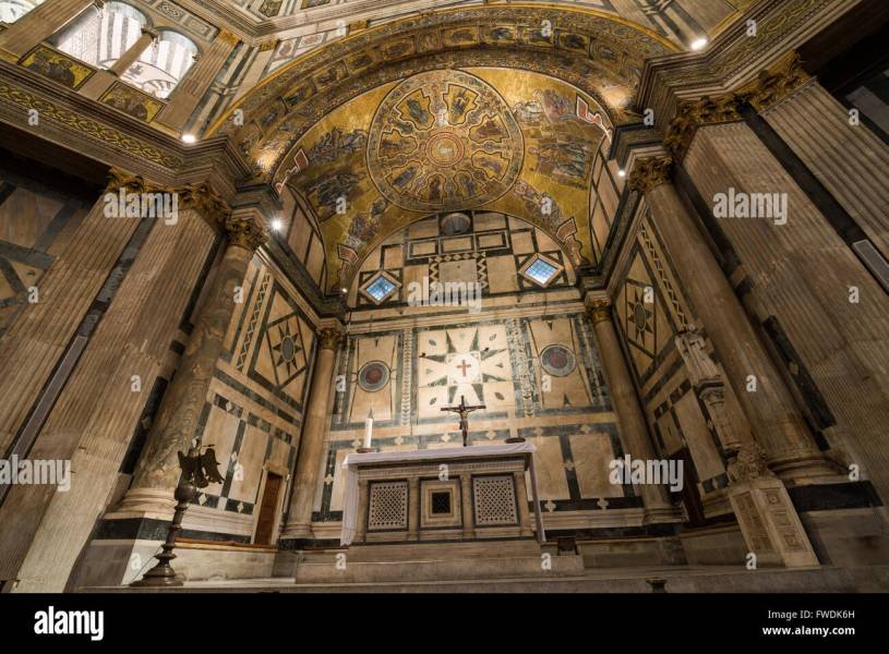 Altar In The Baptistery Interior Florence Stock Photos   Altar In     Altar in the Baptistry of the Duomo  central cathedral of Florence   Baptistery interior Florence