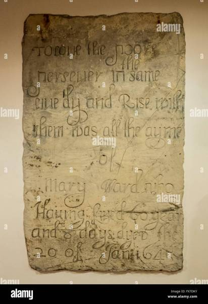 Tombstone of Mary Ward  1585   1645  mounted in the interior wall of     Tombstone of Mary Ward  1585   1645  mounted in the interior wall of St  Thomas  Church  Osbaldwick  Nr York  North Yorkshire  UK