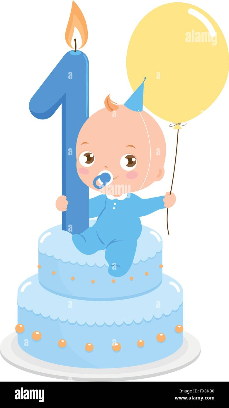 1st Birthday Cake Baby Girl Cartoon