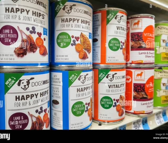 Cans Of Happy Hips Brand Dog Food Pet Care Aisle Weis Supermarket Doylestown Pa Usa