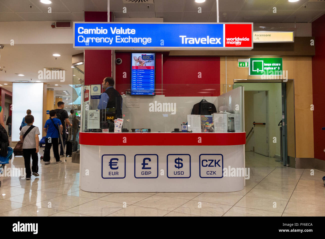 bureau de change office operated by travelex at milan linate airport italy