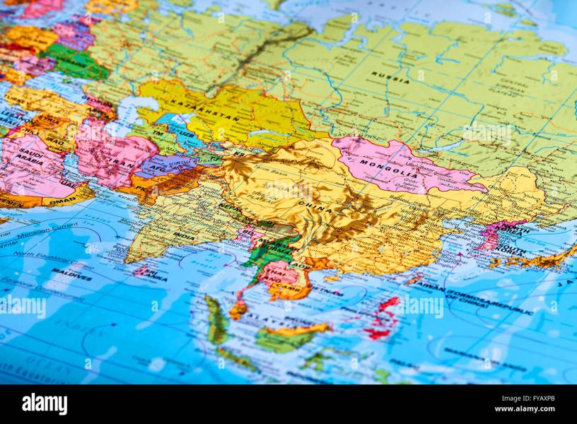 Asia Continent Map Stock Photos   Asia Continent Map Stock Images     Asia Continent on the World Map   Stock Image