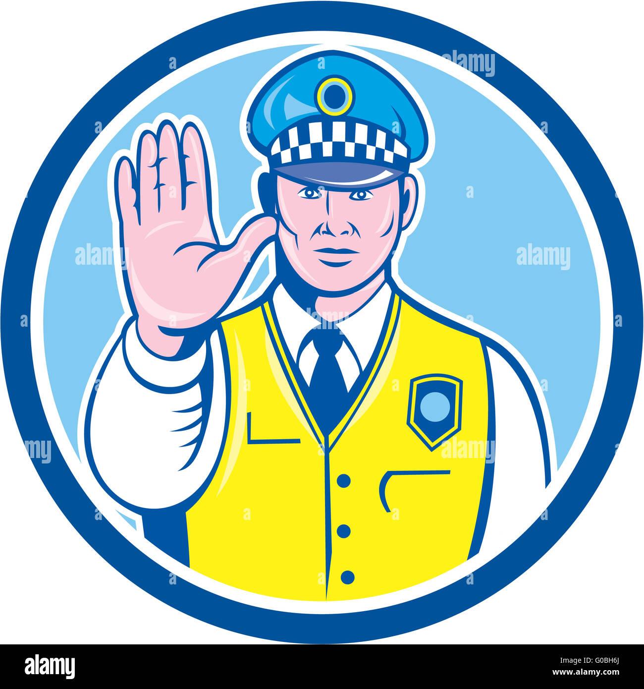 Traffic Policeman Hand Stop Sign Circle Cartoon Stock