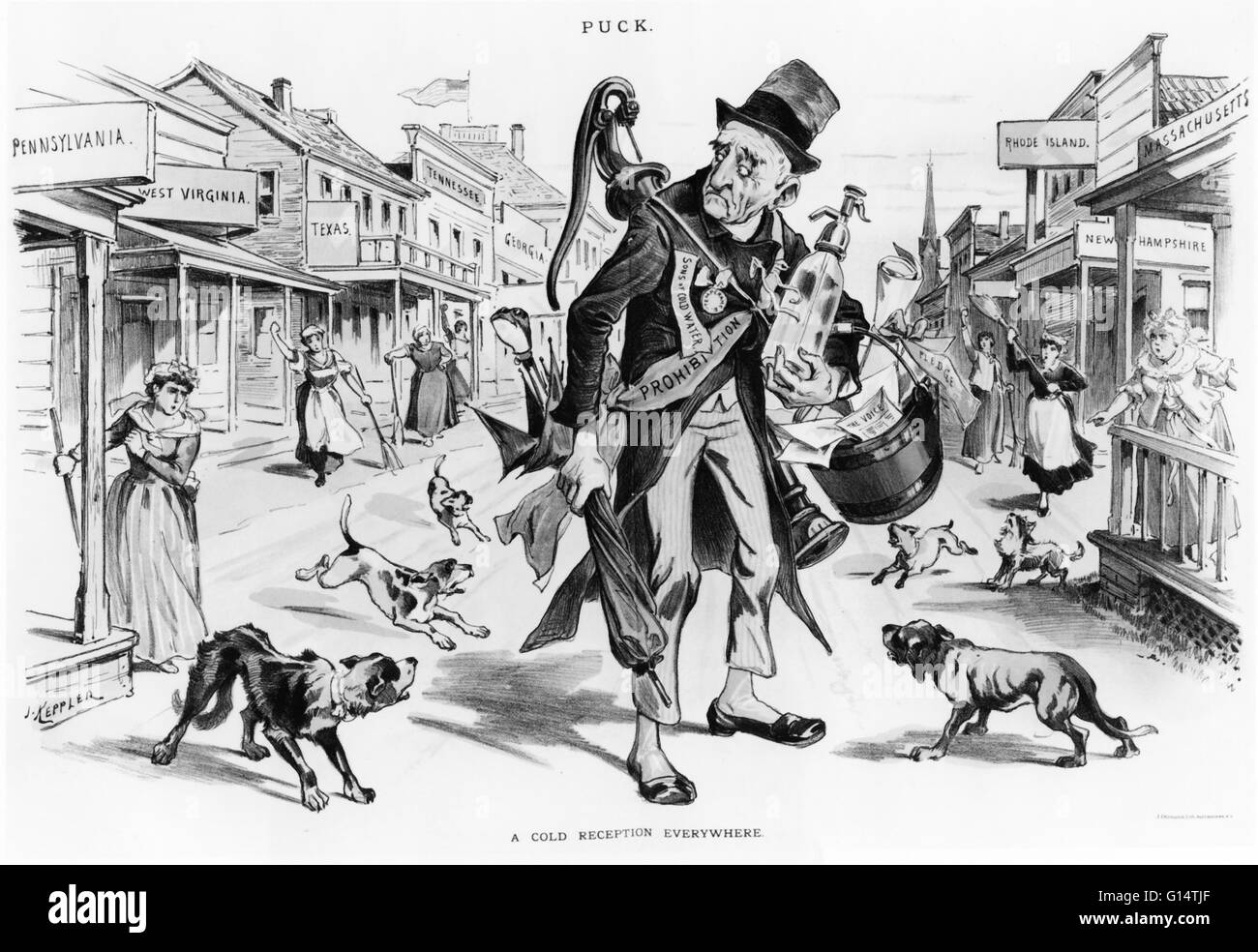 American Political Cartoon Showing Stock Photos   American Political     Political cartoon showing Old Man Prohibition receiving  a cold reception  everywhere     Stock