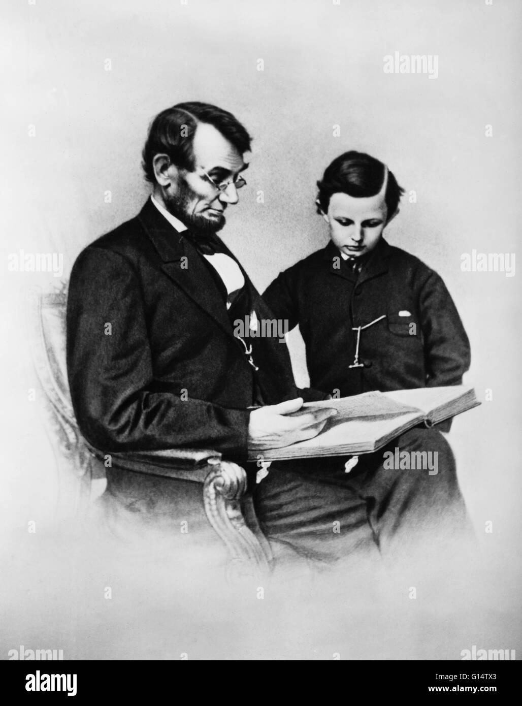 President Abraham Lincoln Reading To His Son Thomas