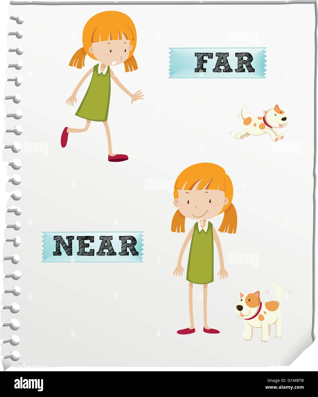 Opposite Adjectives Far And Near Illustration Stock Vector