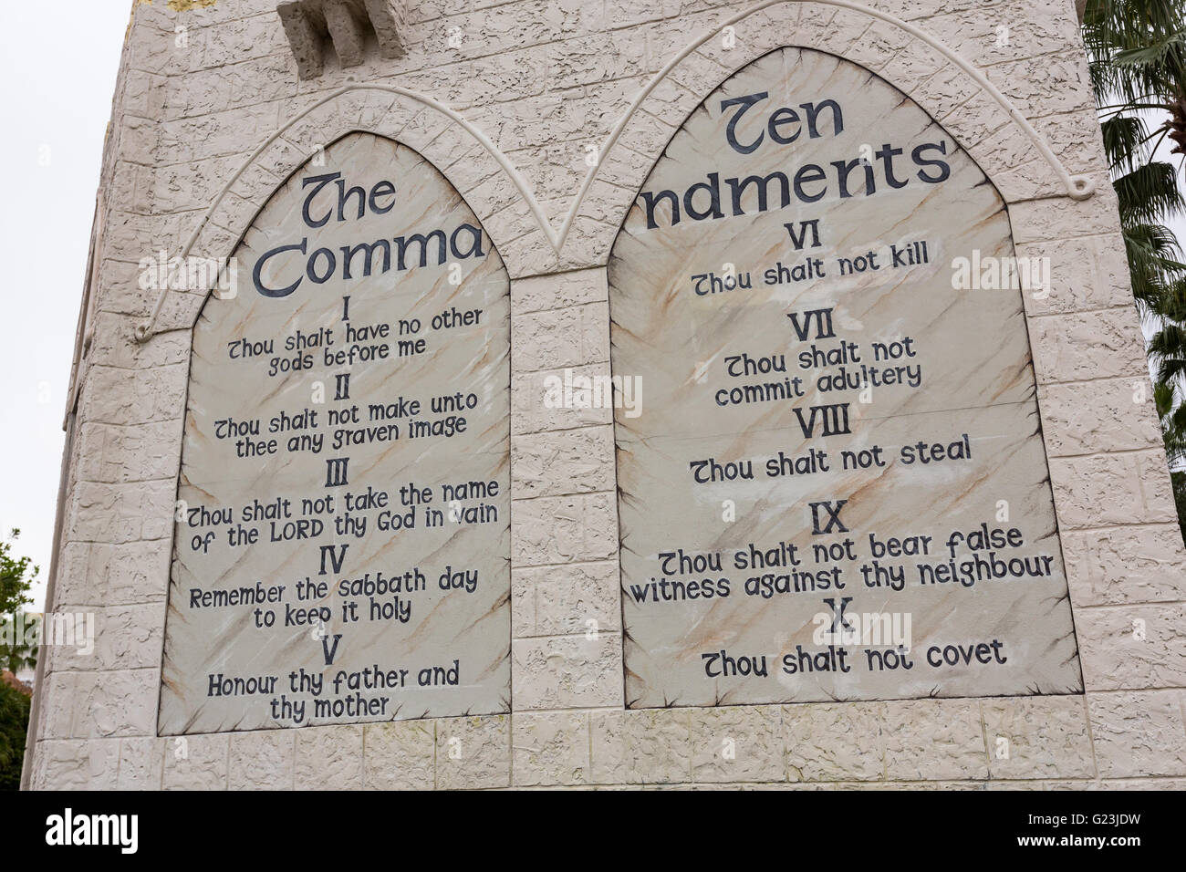 Replica Of The Ten Commandments At The Holy Land