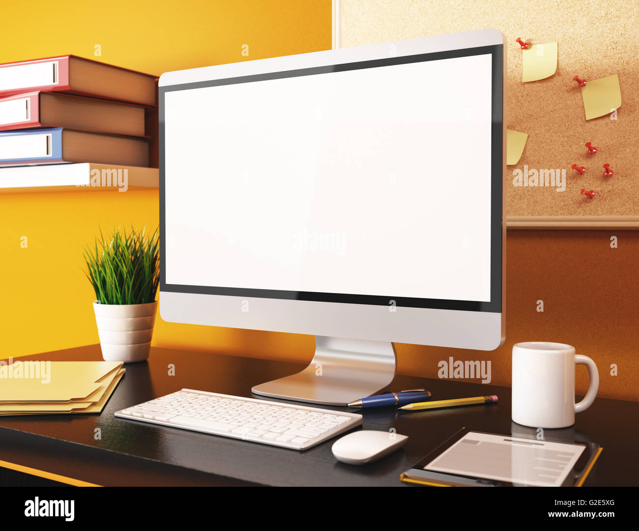3d Illustration Office With Blank Computer Screen Mockup Stock