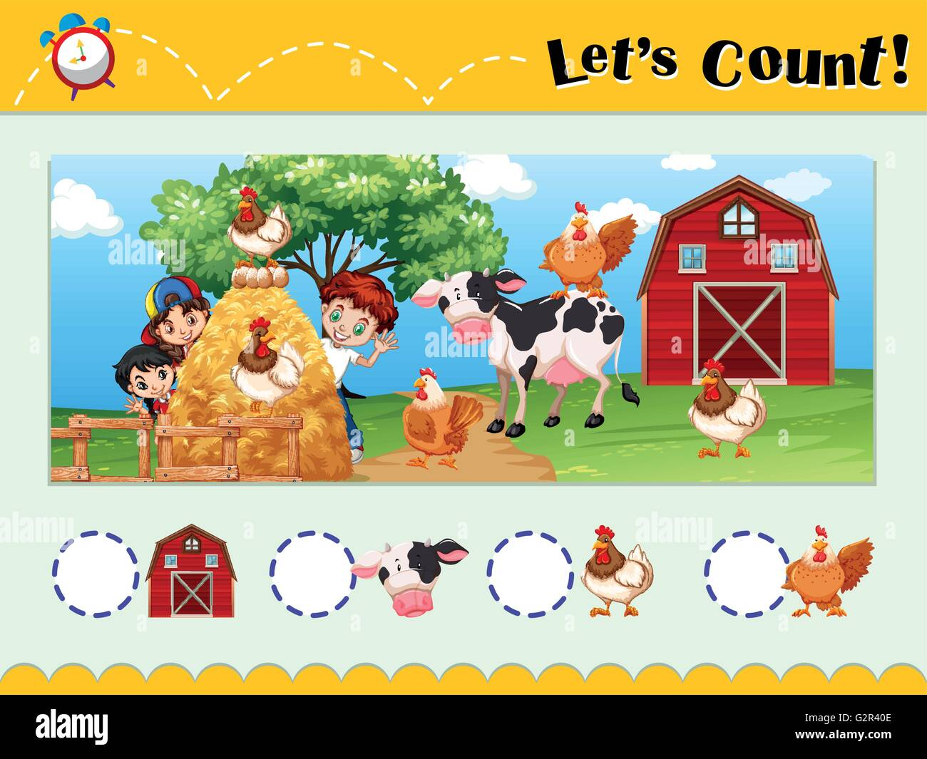 Worksheet Design For Counting Animals Illustration Stock