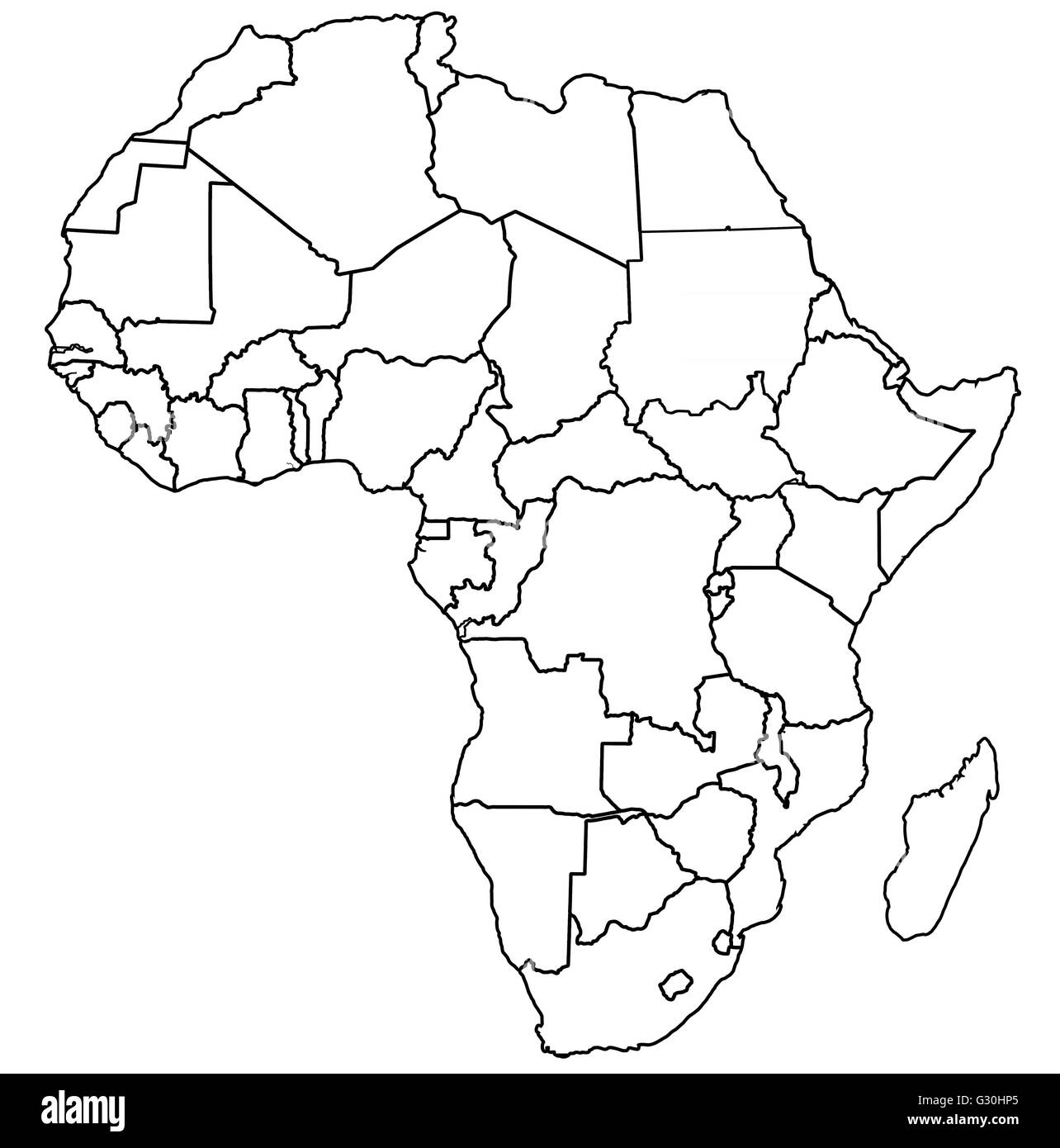 Political Map Of Africa Black And White Stock Photos