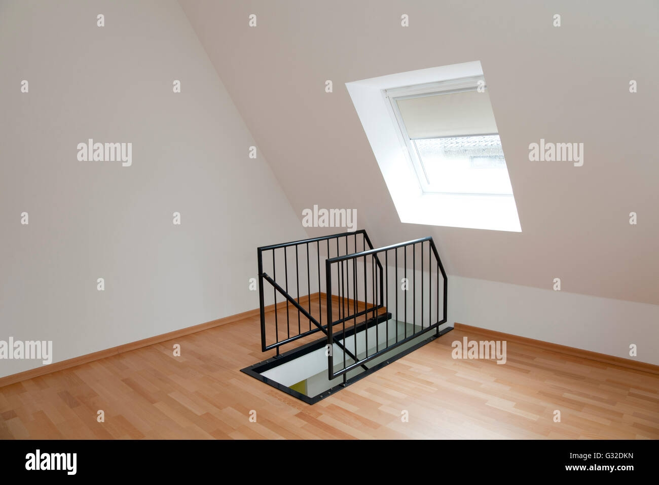 Empty Room In The Top Floor With A Staircase Railing Stock Photo   Top Of Stairs Railing   Redo   Loft   Beautiful Staircase   Solid Wood   Handrail