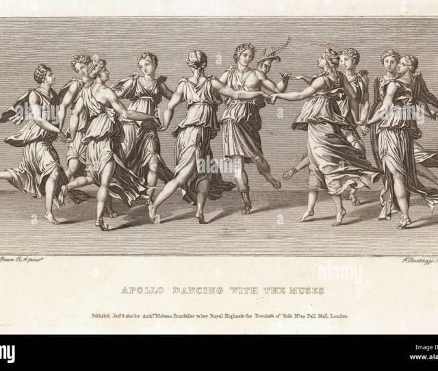 He Dances With His Friends The Nine Muses Stock Image