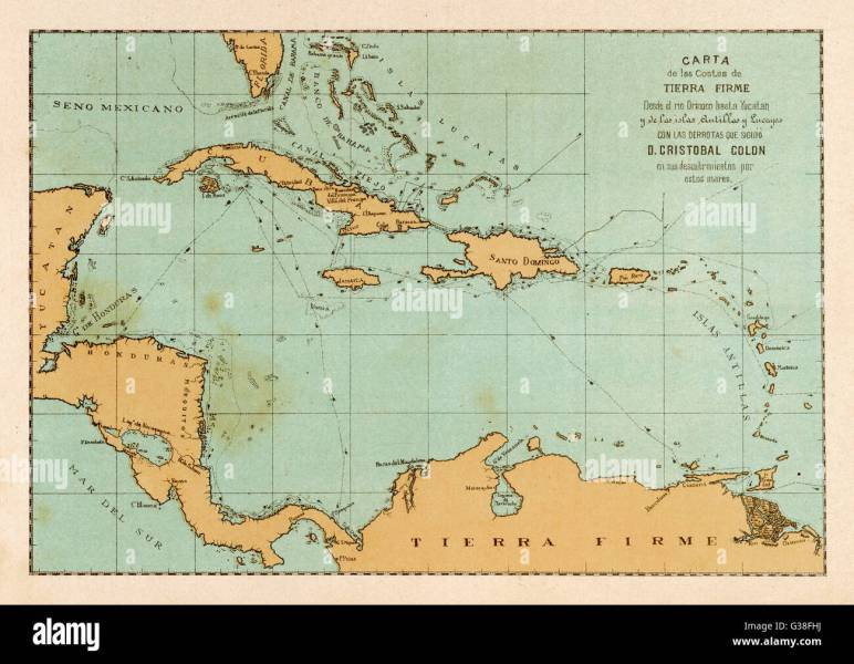 1492 Map Stock Photos   1492 Map Stock Images   Alamy A map showing the travels of Columbus in the Caribbean Date  1492   1502