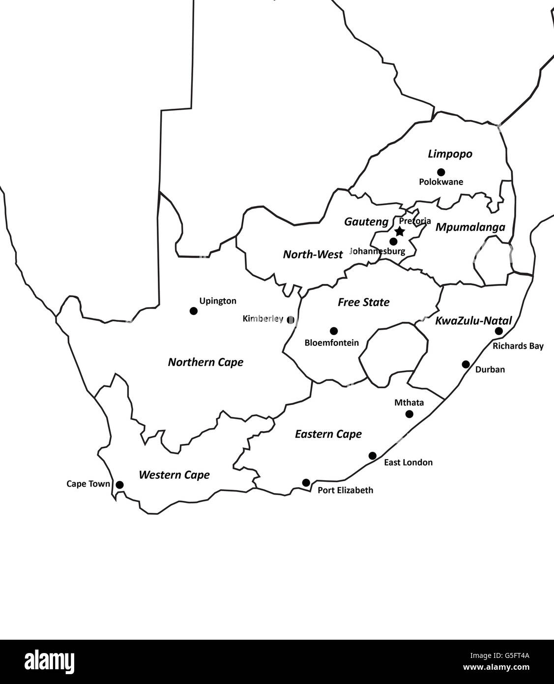 Map Of South Africa Stock Photo