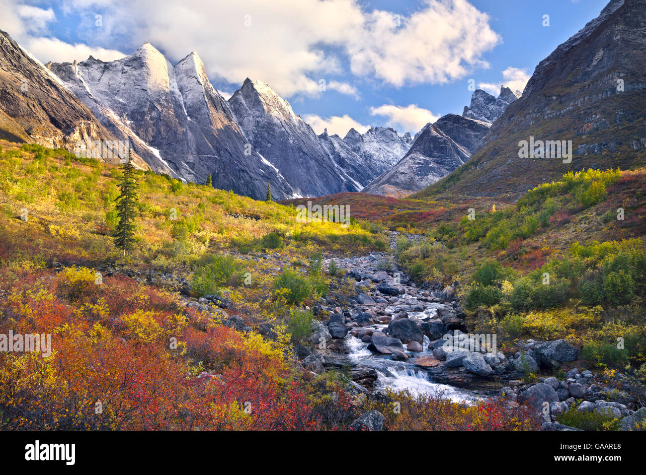 Autumnal Landscape With Snow Arrigetch Peaks Region Of