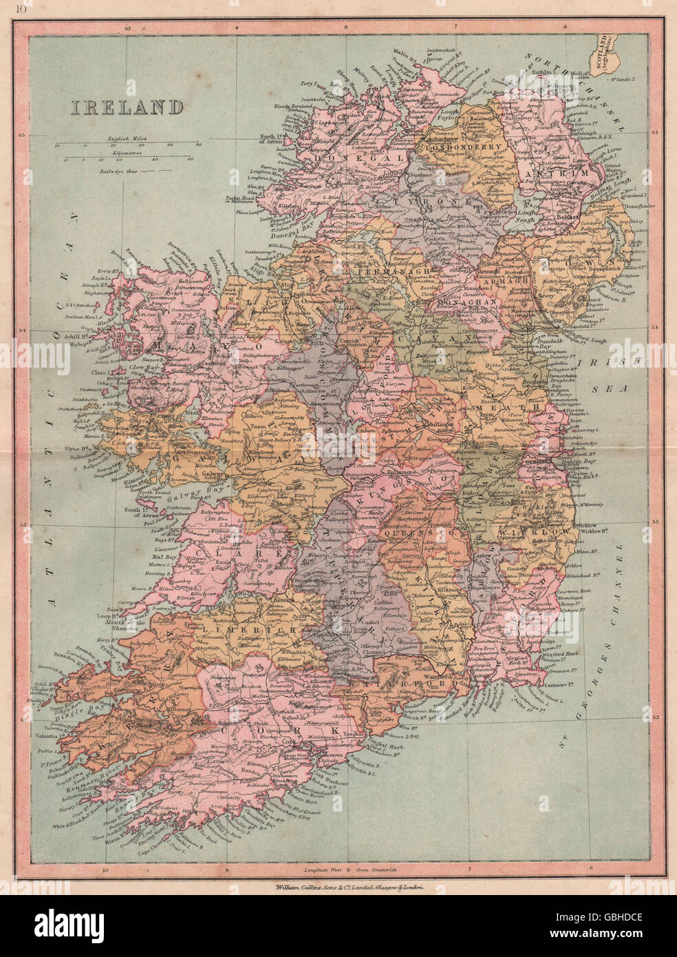 IRELAND  Showing counties   railways  COLLINS  1880 antique map     IRELAND  Showing counties   railways  COLLINS  1880 antique map