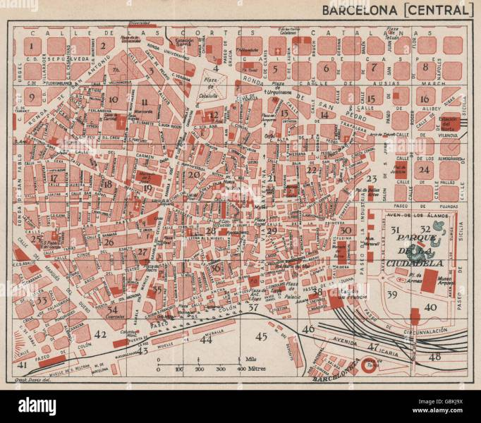 BARCELONA  Central  Vintage town city map plan  Spain  1930 Stock     Vintage town city map plan  Spain  1930