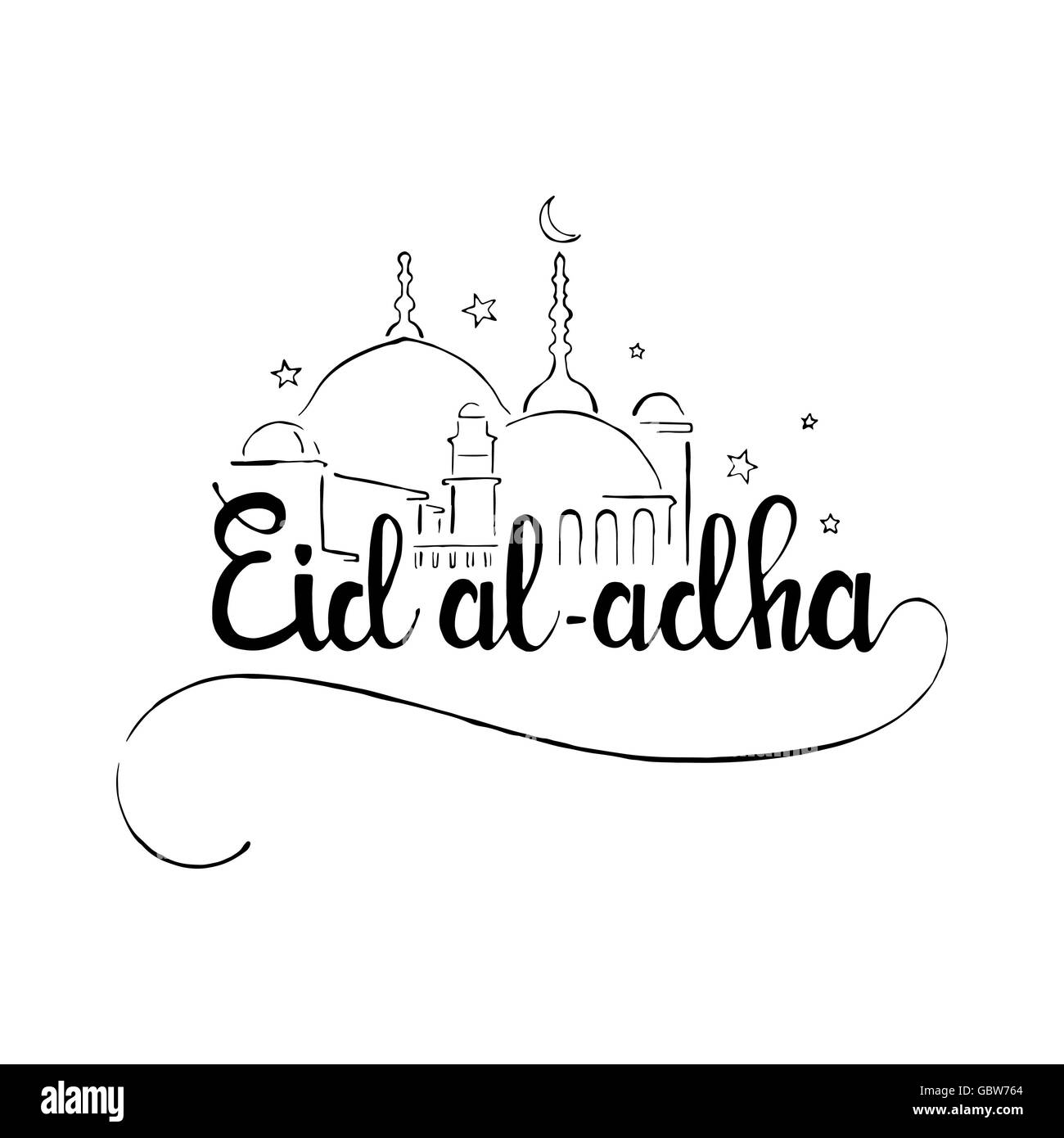 Eid Al Adha Handwritten Lettering Eid Mubarak Modern