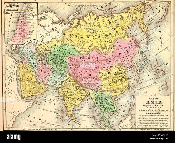 Map of Asia  circa 1860 Stock Photo  111649145   Alamy Map of Asia  circa 1860