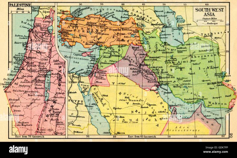 South Asia Map Stock Photos   South Asia Map Stock Images   Alamy A 1930 s map of Palestine  left and south west Asia  right    Stock