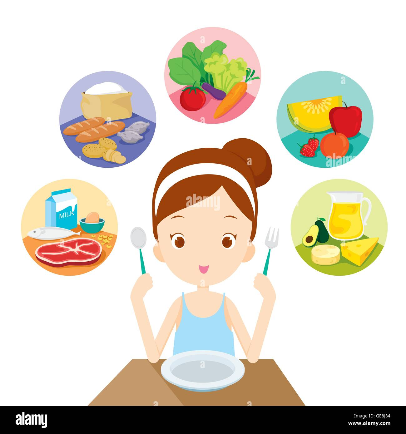 Cute Girl Ready To Eat The 5 Food Groups Healthy Organic Stock Vector Art Amp Illustration