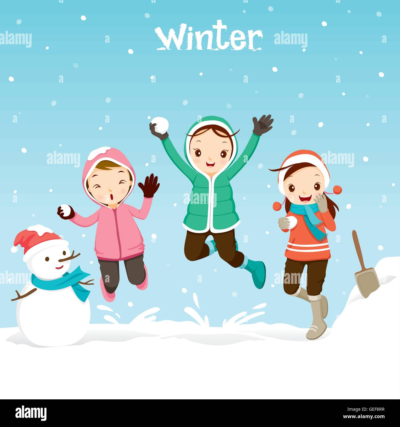 Children Playing Snow Together Activity Travel Winter