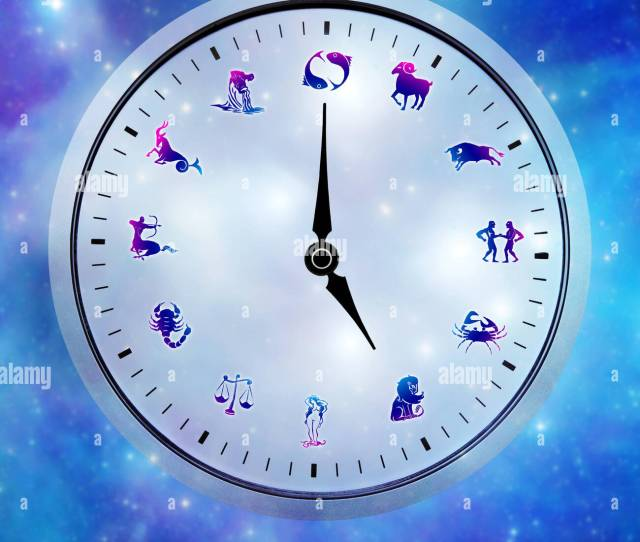 Astrological Clock With All Signs Instead Of Hours Stock Image