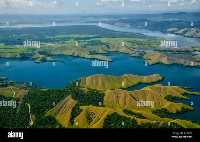 Aerial Sentani Lake Jayapura Indonesia Stock Photo Alamy
